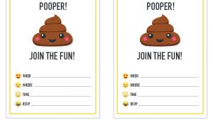 Free Printable Poop Emoji Birthday Invitations Http Www Livinglocurto Com 2016 04 Emoji Party