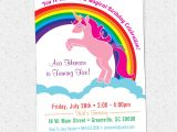 Free Printable Rainbow Unicorn Birthday Invitations Printable Unicorn Birthday Party Invitation Rainbow Pink