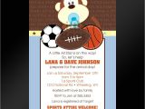Free Printable Sports themed Baby Shower Invitations Jungle Sports Printable Baby Shower by Littlebeesgraphics