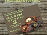Free Printable tow Mater Birthday Invitations tow Mater Birthday Invitation Diy Custom by