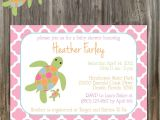 Free Printable Turtle Baby Shower Invitations Sea Turtle Pink and Green Baby Shower Invitation