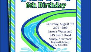 Free Printable Water Slide Party Invitations Water Slide Pool Party Invitation Printable or Printed with