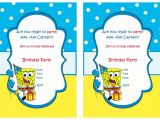 Free Spongebob Party Invitation Templates Spongebob Birthday Invitations Birthday Printable