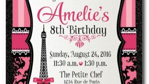 French Birthday Party Invitations Paris themed Birthday Thank You Cards Di 685ty