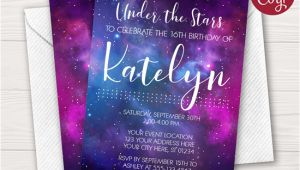 Galaxy Birthday Invitation Template Galaxy Birthday Invitation Puggy Prints