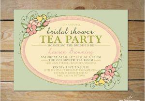 Garden Tea Party Bridal Shower Invitations Printable Tea Party Bridal Shower Invitation by