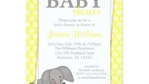 Gender Neutral Elephant Baby Shower Invitations Elephant Yellow Dots Gender Neutral Baby Shower 5×7 Paper