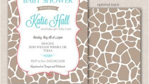 Giraffe Print Baby Shower Invitations Giraffe Print Baby Shower Invitation by Modernwhimsydesign