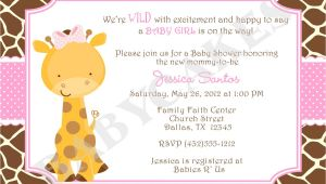 Giraffe themed Baby Shower Invitations Baby Shower Invitations Giraffe theme