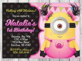 Girl Minion Party Invitations Girl Minion Invitation Girl Minion Birthday Girl Minion