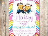 Girl Minion Party Invitations Minions Birthday Invitation Minions Invite Minions Movie