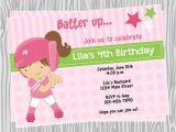 Girl softball Birthday Invitations Diy Girl softball Birthday Party Invitation Coordinating