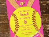 Girl softball Birthday Invitations softball Invitation Birthday Invitation softball Invite