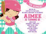 Girl softball Birthday Invitations softball Invitation for Girls Birthday Party by Pixelparade