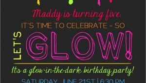 Glow Party Invites Printable Glow In the Dark theme Party Invitation