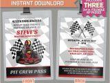 Go Kart Birthday Invitation Template Go Kart Birthday Party Vip Pass Invitations Instant Download
