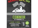 Go Kart Birthday Invitation Template Go Karting themed Birthday Party Invitation Zazzle Com