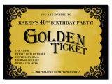Golden Ticket Birthday Invitation Template Golden Ticket Invitation Party Invitation