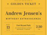 Golden Ticket Birthday Invitation Template Vintage Invitation Templates Canva