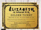 Golden Ticket Birthday Invitation Template Willy Wonka Golden Ticket Birthday Invitation Golden Ticket