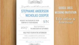 Google Docs Wedding Invitation Template Diy Google Docs Printable Modern Wedding Invitation by