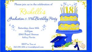 Graduation and 18th Birthday Party Invitations Blue 18th Birthday Graduation Party Invitation Bright