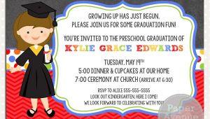 Graduation Invitation Cards for Kindergarten Girls Graduation Invitations Chalkboard Premade Card Invite