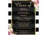 Graduation Paper for Invitations Class Of 2016 Graduation Classy Floral Stripes 5×7 Paper