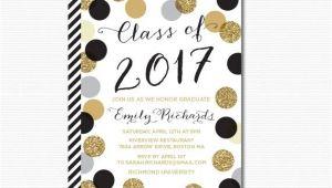 Graduation Party Invitation Kits Printable Graduation Invitation Black Gold Polka Dots