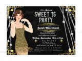 Great Gatsby Party Invitation Wording Great Gatsby Flapper Sweet 16 Birthday Invitation Sweet
