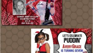 Harley Quinn Birthday Invitation Template Harley Quinn Birthday Party Invitations Printable Uprint