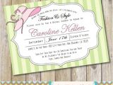 Hat themed Bridal Shower Invitations Pink and Green Garden Hat Party Bridal Shower Invitation