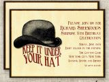 Hat themed Party Invitations Surprise Birthday Party Invitations Vintage Bowler Hat Digital
