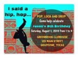 Hip Hop Dance Birthday Party Invitations 80 39 S Boombox Break Ancing Hip Hop Party Invitation 5 Quot X 7