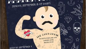 Hipster Baby Shower Invitations Tattooed Hipster Baby Shower Invitation Digital File by