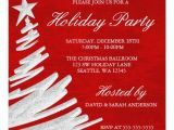 Holiday Party E Invitations Red and Silver Christmas Tree Holiday Party Invitation