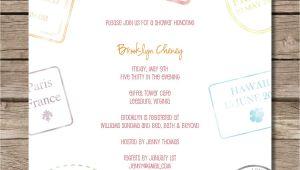Honeymoon themed Bridal Shower Invitations Passport Stamp Bridal Shower Invitation Perfect for
