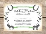 Horse themed Party Invitations Horse themed Wedding Invitations Bridal Shower too