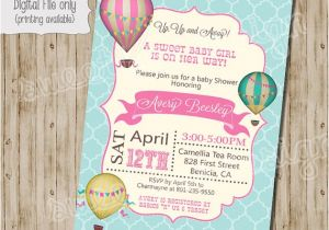Hot Air Balloon themed Baby Shower Invitations Baby Shower Invitation Hot Air Balloon Baby Shower Invitation
