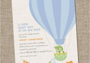 Hot Air Balloon themed Baby Shower Invitations Hot Air Balloon Baby Shower Invitation Hot Air Balloon