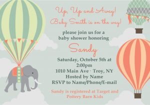 Hot Air Balloon themed Baby Shower Invitations Hot Air Balloon Baby Shower Invitation Printable 4×6 or 5×7