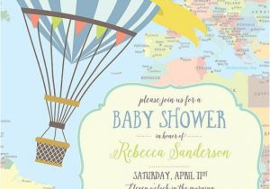 Hot Air Balloon themed Baby Shower Invitations Hot Air Balloon Baby Shower Invitation Yellow by