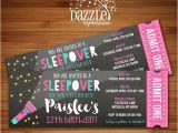 Hotel Party Invitation Template Printable Chalkboard Sleepover Ticket Birthday Invitation