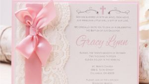 How to Make Baptism Invitations Off Gracy Lace Invitation Pink Baptism Invitation
