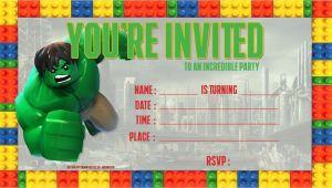 Hulk Birthday Party Invitation Template Nice Free Lego Hulk Birthday Invitation Template