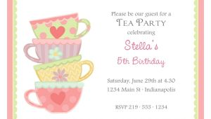 Images Of Tea Party Invitations Free afternoon Tea Invitation Template