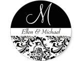 Initial Stickers for Wedding Invitations Damask Wedding Monogram Black and White Invitation Classic
