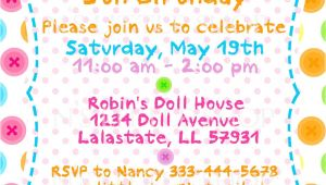 Invitation Card Example Birthday button Doll Birthday Invitation Card Customize by