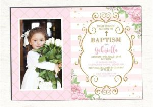 Invitation Wording for Baptism and Birthday Baptism Invitation Girl Pink and Gold Floral Christening