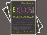 Invitations for Glow In the Dark Party Glow In the Dark theme Birthday Party Invitation Custom